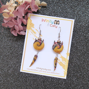 Devil's Tidal Wave & Ivory Dangle Earrings