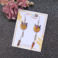 Load image into Gallery viewer, Devil's Tidal Wave & Twist Ivory Polymer Clay Earrings