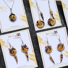 Load image into Gallery viewer, Combination of Devil's Tidal Wave & Twist Ivory Polymer Clay Earrings