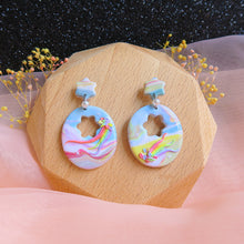 Load image into Gallery viewer, Handcrafted Polymer clay pastel dreamland earrings rainbow egg shell shaped