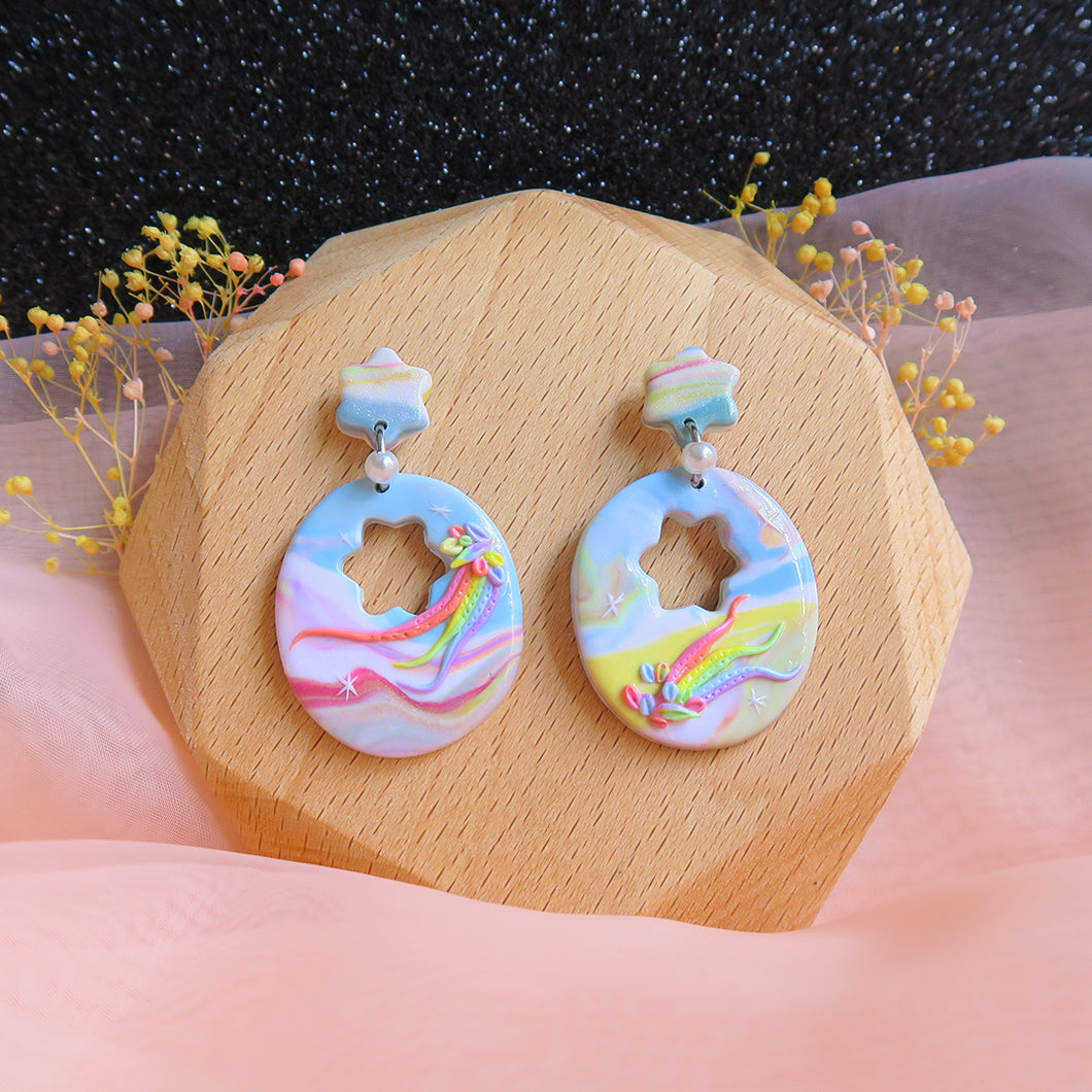 Handcrafted Polymer clay pastel dreamland earrings rainbow egg shell shaped
