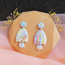 Load image into Gallery viewer, Polymer clay pastel dreamland earrings rainbow eggshell shaped