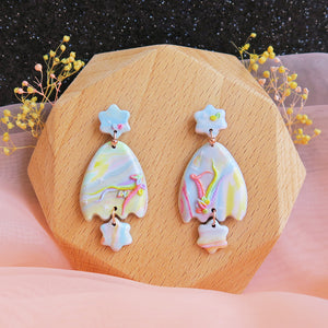 Polymer clay pastel dreamland earrings rainbow eggshell shaped