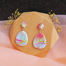 Load image into Gallery viewer, Polymer clay pastel dreamland earrings rainbow