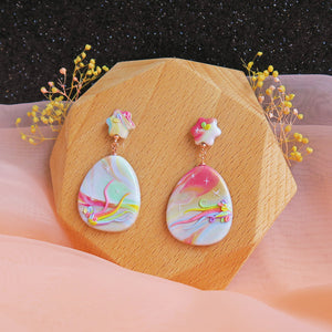 Polymer clay pastel dreamland earrings rainbow