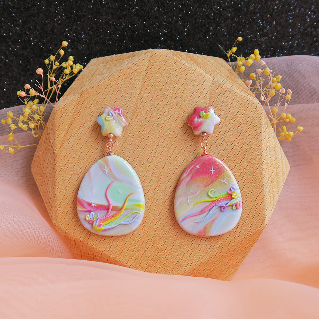 Polymer clay pastel dreamland earrings rainbow eggshell star light shaped