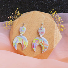 Load image into Gallery viewer, Handcrafted Polymer clay pastel dreamland earrings rainbow u shaped