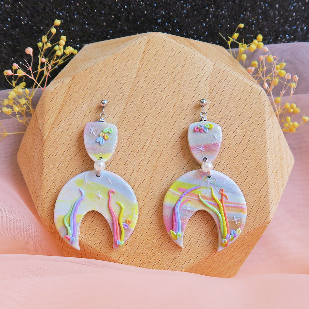 Handcrafted Polymer clay pastel dreamland earrings rainbow