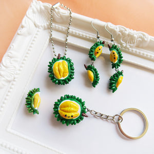 Durain mao shan wang polymer clay keychains and earrings