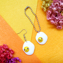 Load image into Gallery viewer, Handmade sunny side up egg earrings or keychain
