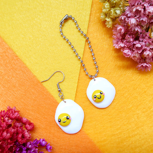 Handmade sunny side up egg earrings or keychain