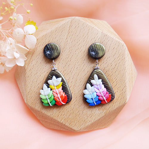 Polymer Clay Moonlight Fantasy Earrings Multicolor