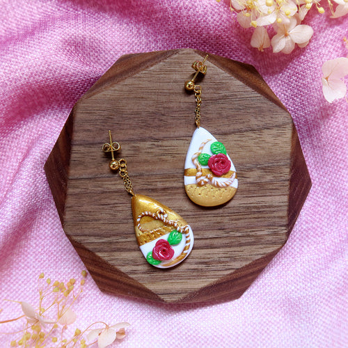 Royal rose and grean leaves polymer clay abstract style earrings