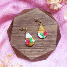 Load image into Gallery viewer, Royal rose and grean leaves polymer clay abstract style earrings