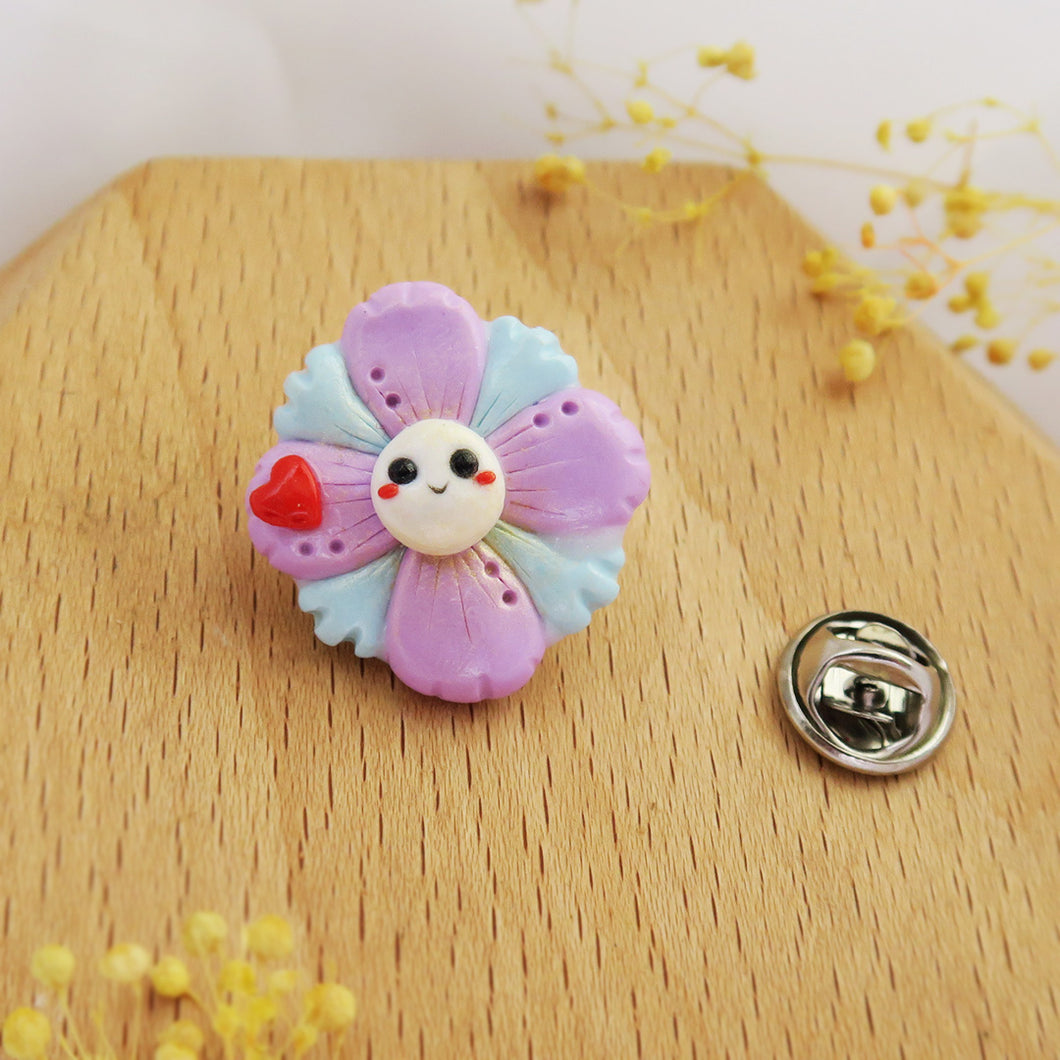 Handmade polymer clay earrings Singapore - Floral Pin