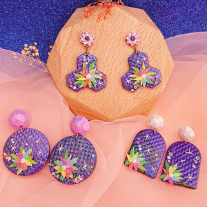 Handmade polymer clay earrings Singapore  - Galaxy Floral