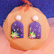 Load image into Gallery viewer, Handmade polymer clay earrings Singapore  - Galaxy Floral