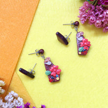 Load image into Gallery viewer, Garden Paradise Brown Asymmetric Earrings