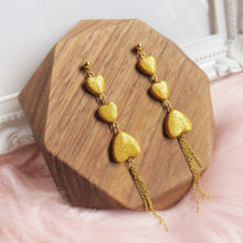 Load image into Gallery viewer, Handmade polymer clay earrings Singapore - Tipsy hearts with gold holographic glitter