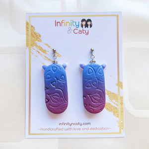 Handmade Polymer clay gradient blue to violet imprints with crystal crown earrings
