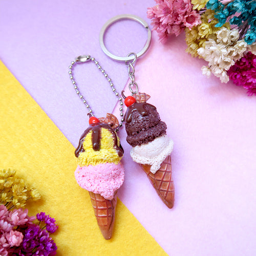 Handmade Mango/Strawberry and Chocolate/Salted Caramel Ice cream keychain