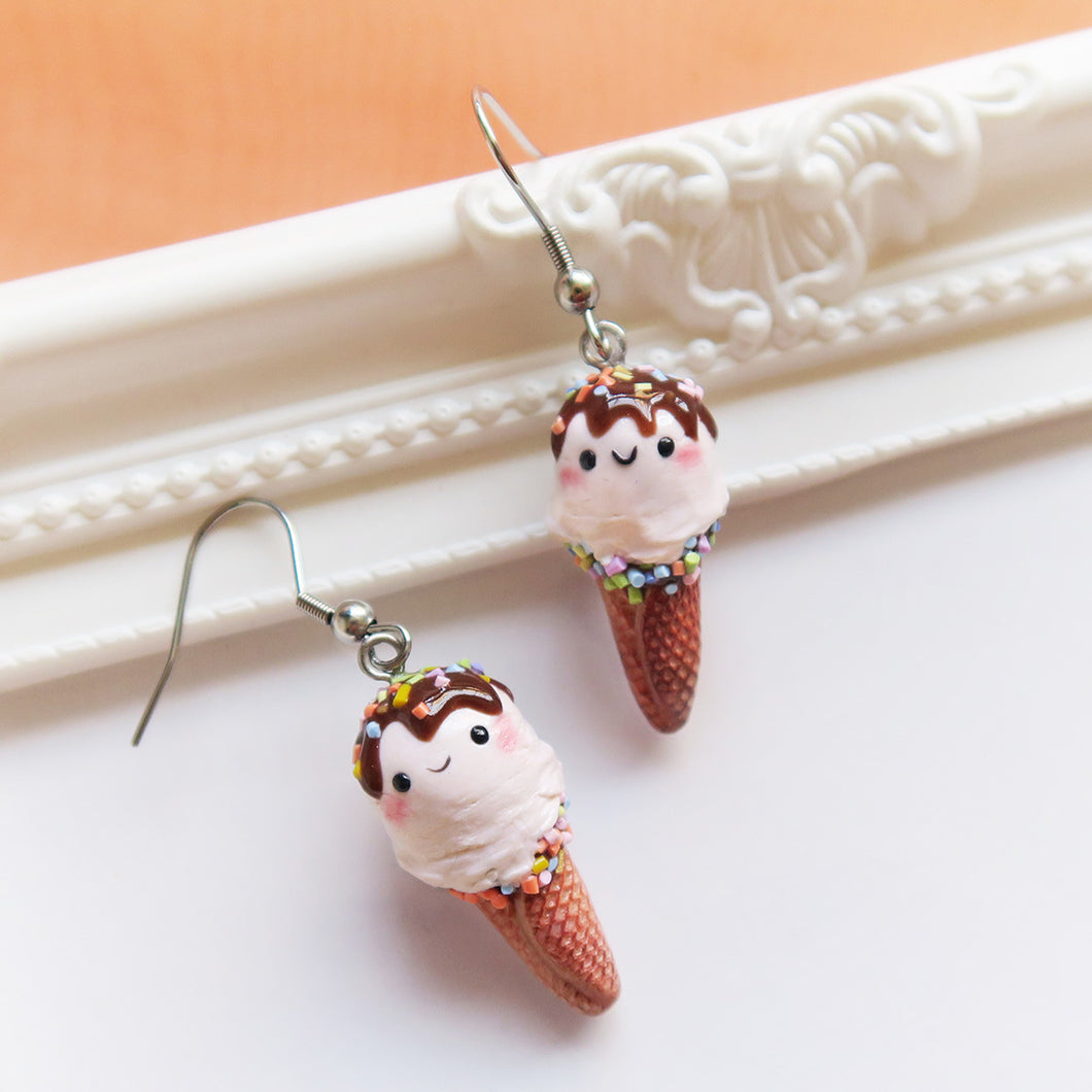 Handmade Polymer clay salted caramel earrings