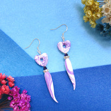 Load image into Gallery viewer, Handmade purple heart ivory shaped polymer clay earrings with crystal and bead embellishments