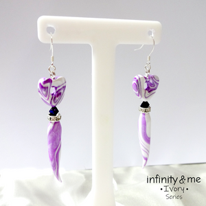 Ivory Purple Heart Earrings