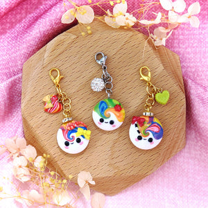 Little Buddy with Accessories Charm Polymer clay cute smile with hearts