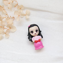 Load image into Gallery viewer, Polymer Clay Little Girl in Pink Gradient Dress and red bow