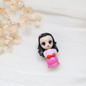 Polymer Clay Little Girl in Pink Gradient Dress and red bow