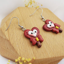 Load image into Gallery viewer, Handmade polymer clay earrings Singapore - Scarlet Hearts Lollipop red holographic glitter