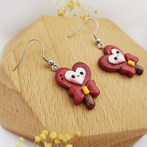 Handmade polymer clay earrings Singapore - Scarlet Hearts Lollipop red holographic glitter