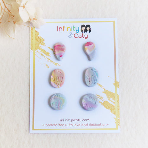 Polymer clay back to basics marble pastel studs