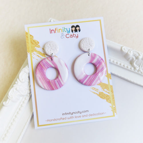 Polymer clay back to basics marble pastel earrings pink