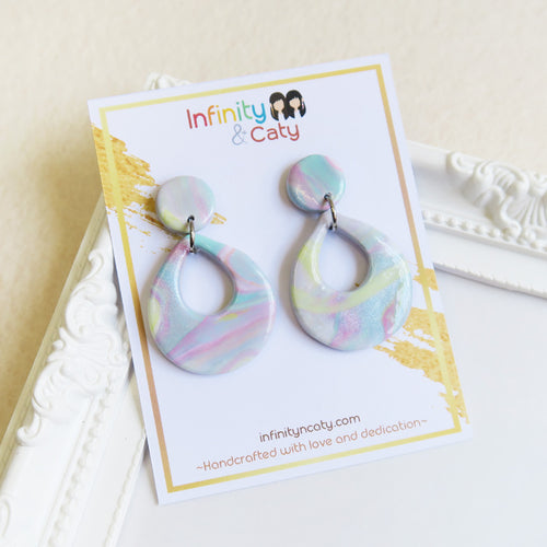 Polymer clay back to basics marble pastel earrings