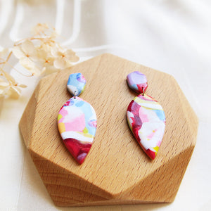 Polymer clay basic colors earrings pink purple colourful marble