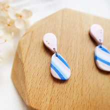 Load image into Gallery viewer, Polymer clay basic nude colors earrings blue pink stripes pebble