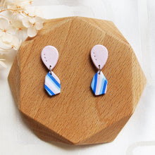 Load image into Gallery viewer, Polymer clay basic nude colors earrings blue pink stripes