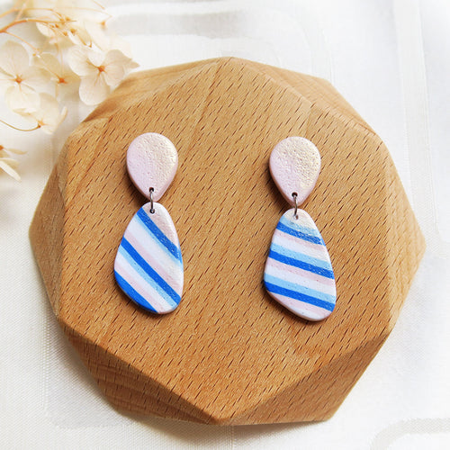 Polymer clay basic nude colors earrings blue pink stripes