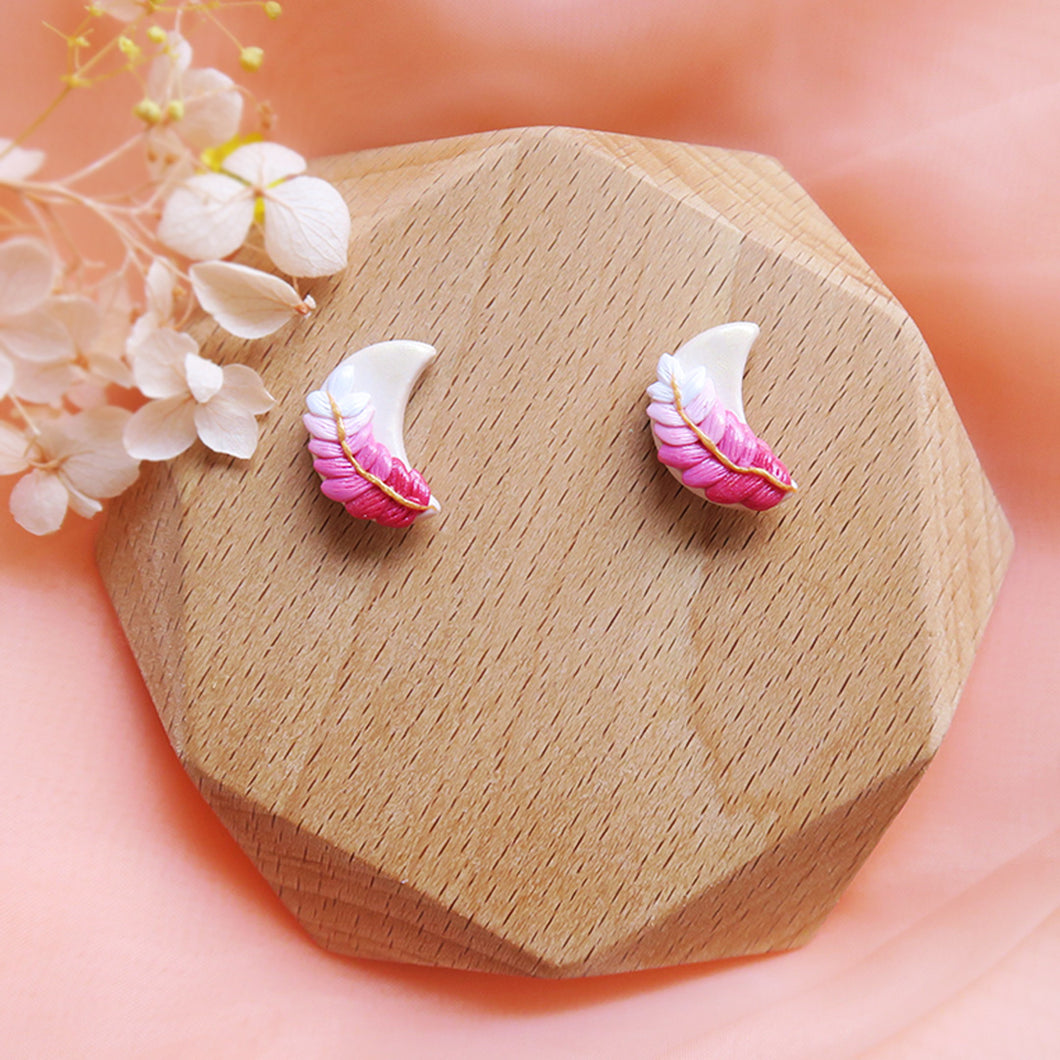 Polymer Clay Moonlight Fantasy Earrings Multicolor Sweet Pink