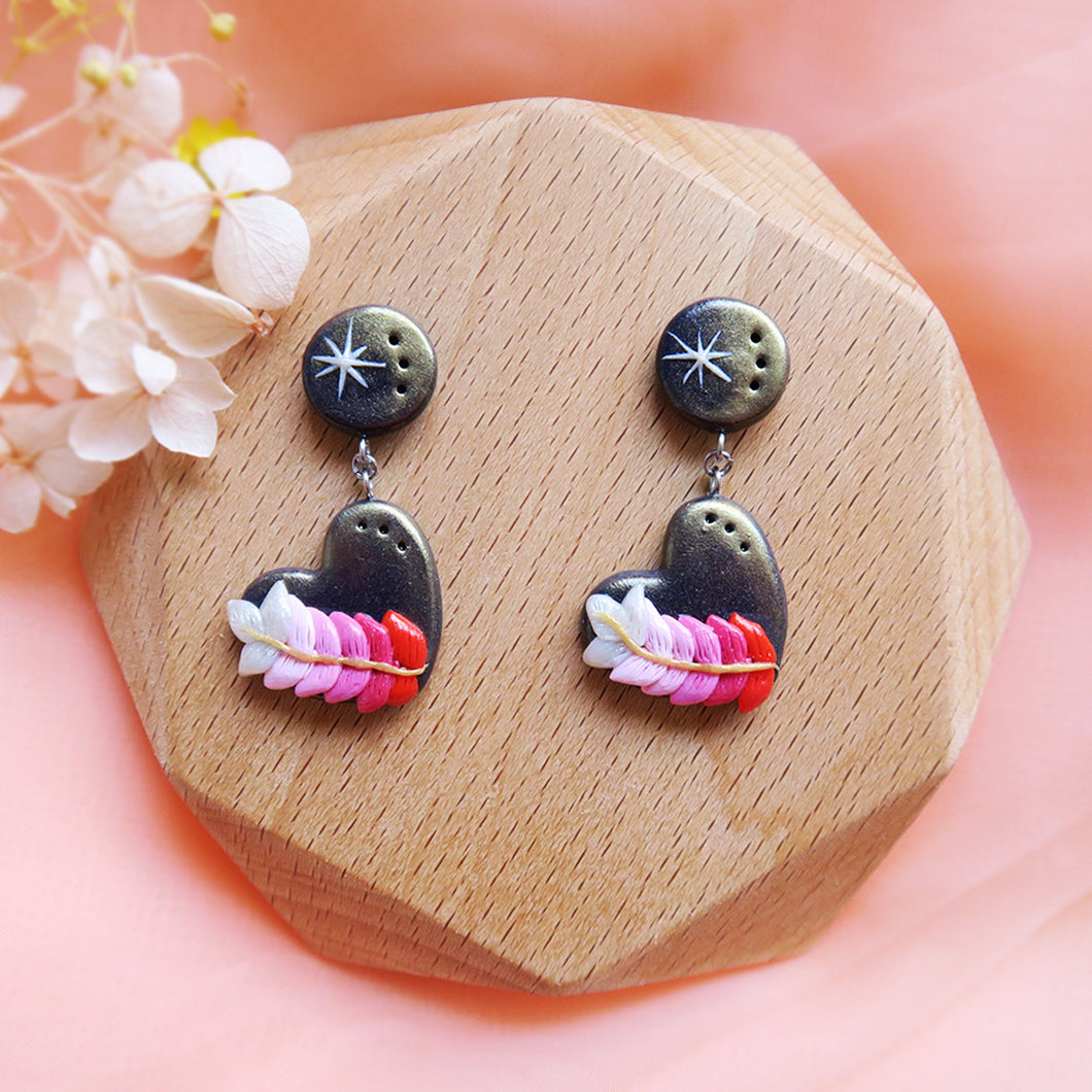 Polymer Clay Moonlight Fantasy Earrings Sweet Pink Heart