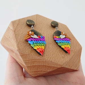handmade polymer clay earrings Singapore - moonlight fantasy rainbow feathers