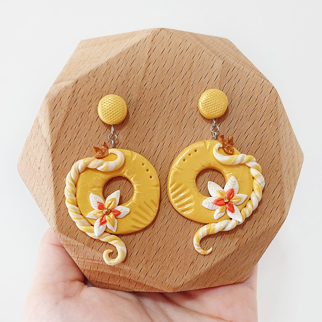 handmade polymer clay earrings Singapore - yellow warmth and sunshine paradise
