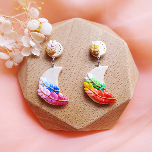 Polymer Clay Moonlight Fantasy Earrings Multicolor Daylight