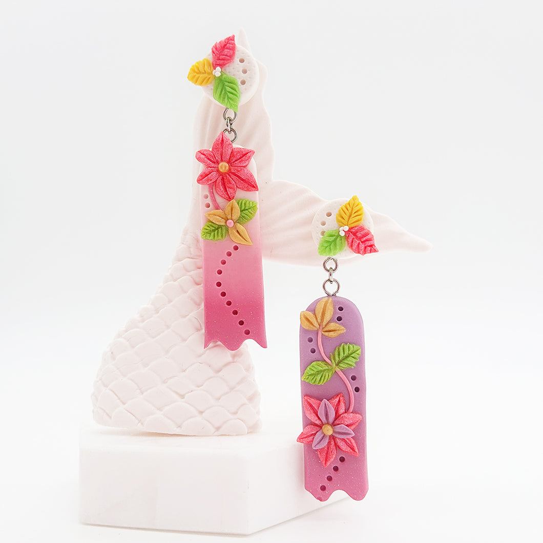 Paradise Fantasy - Unique pair of handmade polymer clay earrings that make you stand out in the crowd. Handmade in Singapore.