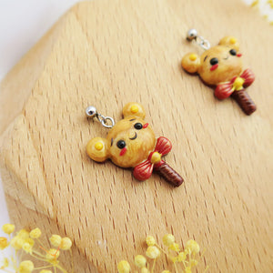 Handmade polymer clay earrings Singapore - Pooh Lollipop Earrings