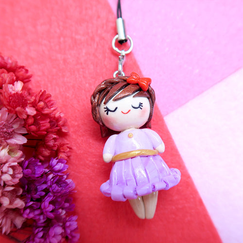 Princess Lara with red bow Keychain