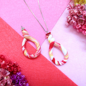 Combined Candy Yellow Red Swirl Pendant