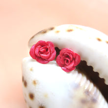 Load image into Gallery viewer, Polymer clay handmade rose earring studs